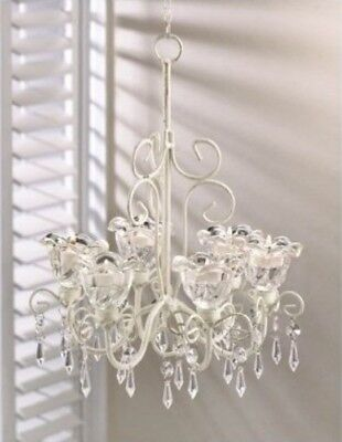 Shabby Chic Bathroom Decor 6-Reflection Candle Style Chandelier Crystal Fixture + Gft