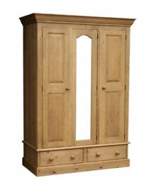 Solid pine 3door wardrobe with top box