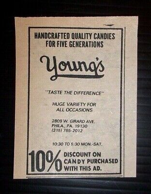 1976 Young's Department Store Candy Coupon Advertisement Philadelphia, - Candy Coupons