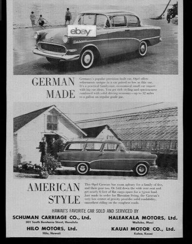SCHUMANN CARRIAGE CO LTD & HILO MOTORS 1959 OPEL GERMAN CARS & AMERICAN STYLE AD