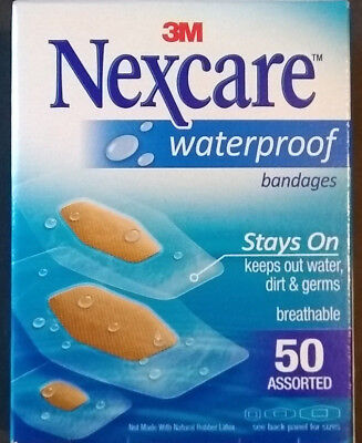 3M Nexcare Waterproof Clear Bandages Assorted, 50 Count Free Shipping