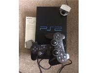 PlayStation 2 with 2 Controllers,EyeToy Camera,Instruction Manual + Optional Games