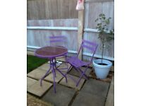 Bistro set in purple