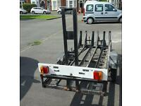 3 bike trailer. All steel with spare wheel, ramp and light board.