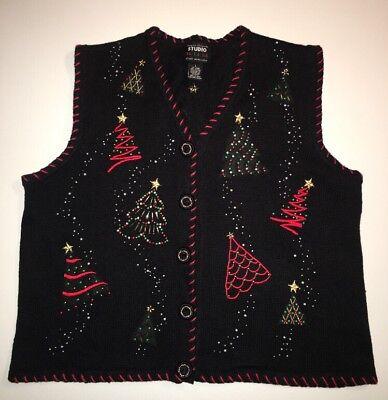 Christmas Sweater Vest (Women's Christmas Sweater Vest Black Red Green Sz.)