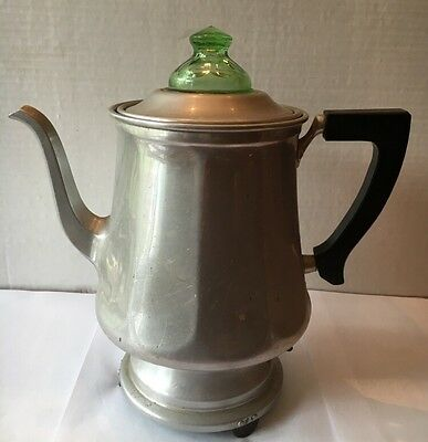Antique Corona Electric Coffee Pot/ Green Glass Knob- All Parts Including Cord-