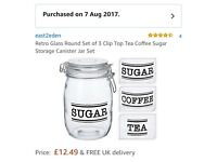 Glass tea, coffee and sugar jars