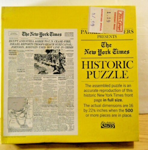 Complete Parker Brothers 1968 New York Times 500+ Puzzle THE SIX DAY WAR Israel