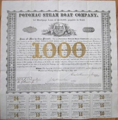1878 $1000 Gold Bond Certificate: 'Potomac Steam Boat Company' - Virginia