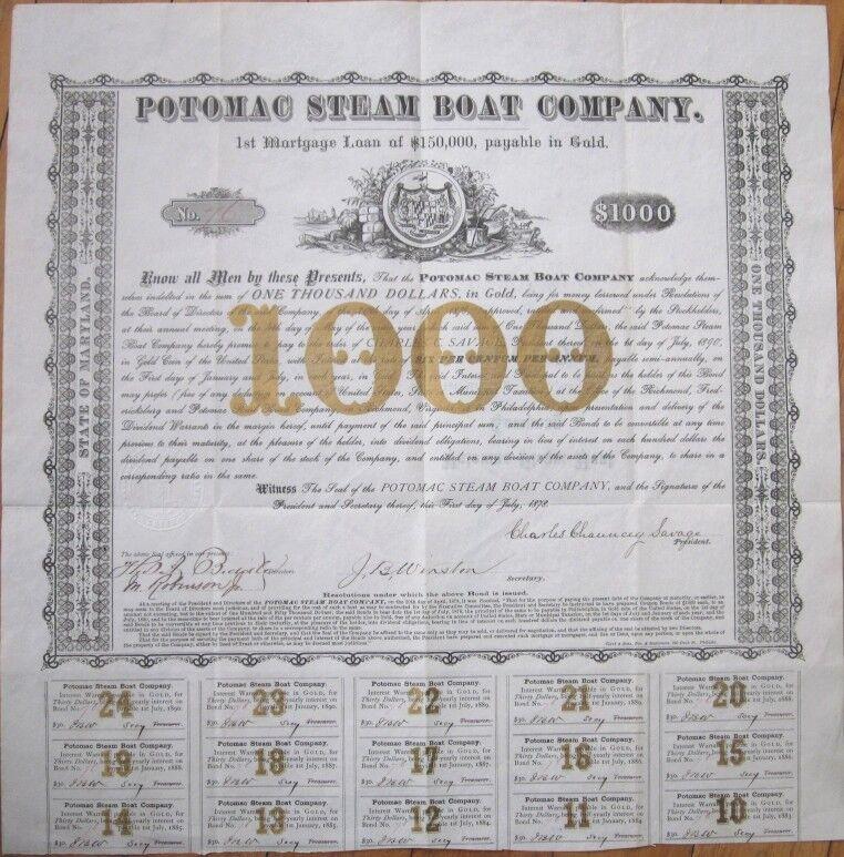1878 $1000 Gold Bond Certificate: