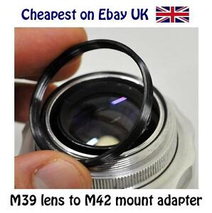 M42 to M39 (42mm  - 39mm) screw mount lens step adapter ring for Leica Zenit etc