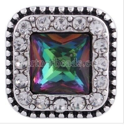 Square Green Multi Rhinestone 16mm Snap Charm For 18mm Ginger Snaps Jewelry