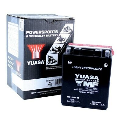 Yuasa YTX14AHL-BS Yamaha XS500 '75-'78 AGM, High Performance 12 Volt Battery