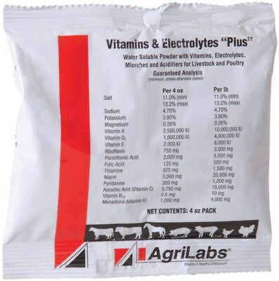 Vitamin Electrolyte Plus 4 Oz Water Soluble Cattle Swine Poultry Horse