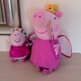 Toy Peppa Pig Princess Fairy Soft Toys x 2 Very Good Condition