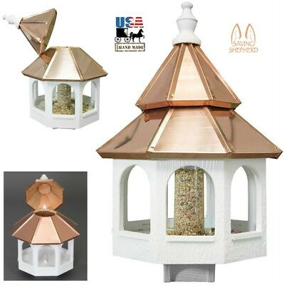 "27"" LARGE COPPER TOP BIRD FEEDER Amish Handmade 16"" Round Post Mount Gazebo USA"