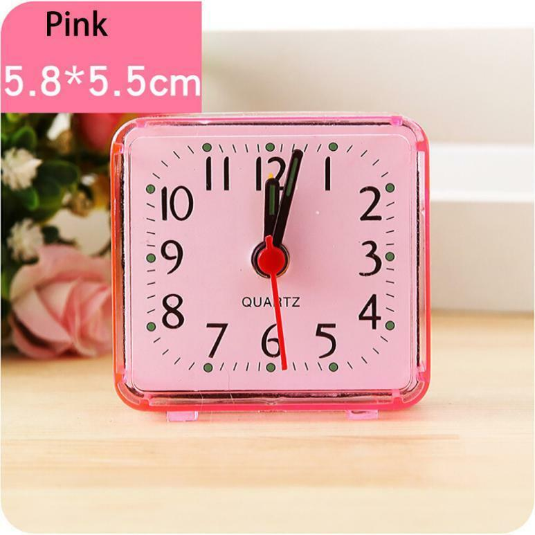 Portable Cute Square Small Bed Compact Travel Quartz Beep Alarm Clock