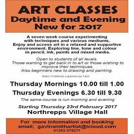 Art Classes. 7 week course. day time or Evening classes available.