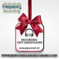 Recording Studio Gift Certificates! Starting at $100.00