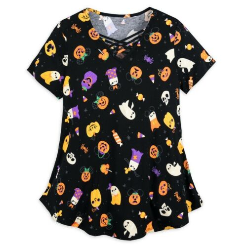 MICKEY MOUSE AND FRIENDS HALLOWEEN FASHION TOP FOR WOMEN SIZE L NWT NEW!