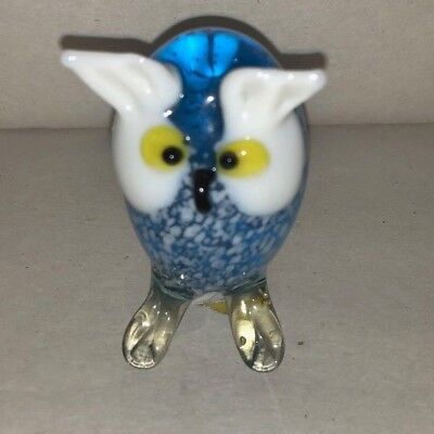 Blown Glass Figurine Art Bird Small Blue Owl