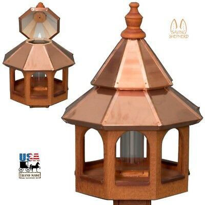 "27"" COPPER TOP BIRD FEEDER - Large Natural Finished Gazebo Amish Handmade USA"