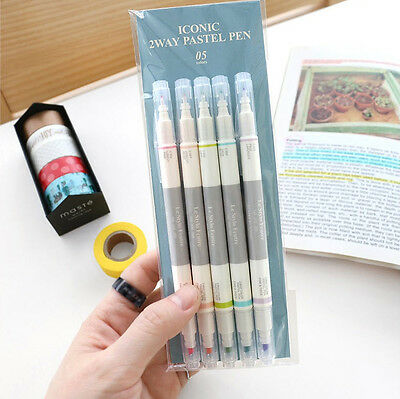 Two Way Marker Decor Pen 5PCS Pastel Version for Diary Planner Study Highlighter