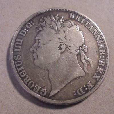 1822 GEORGE III BRITISH CROWN / 5 SHILLING PIECE SILVER COIN