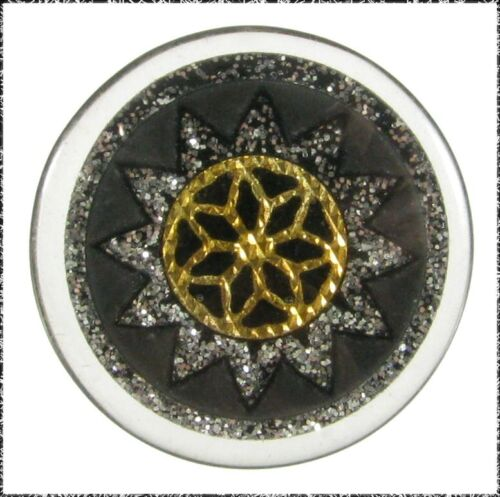 Polyester Button w/ Embedded Foil or Metal Design and Glitter Sunburst