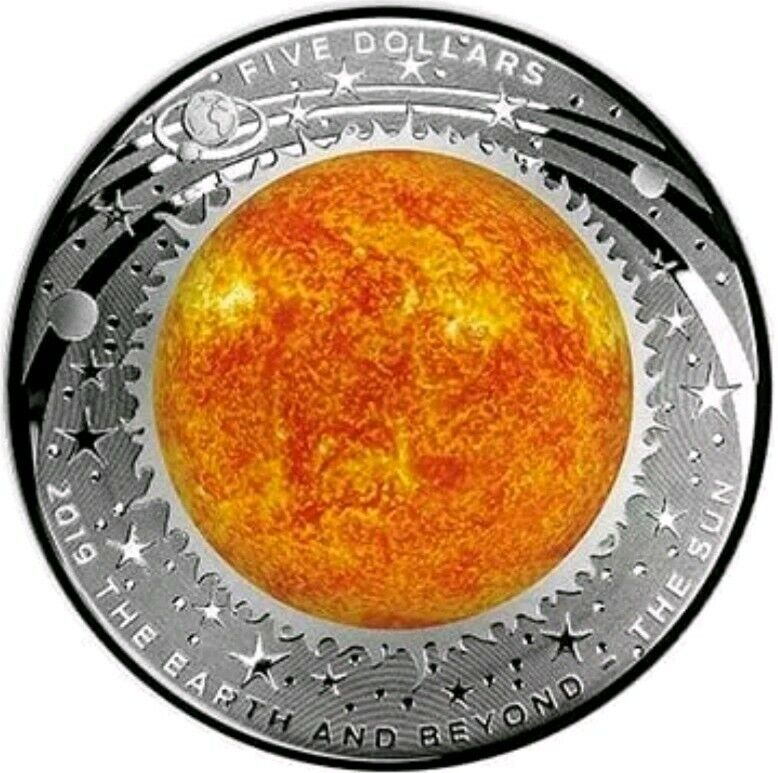 2019 Australia  $1 THE SUN - DOMED EARTH AND BEYOND 1 Oz Silver Coin.