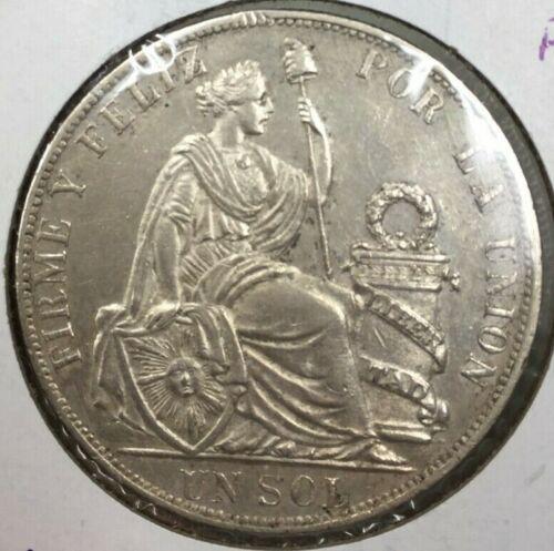 1892 PERU UN SOL CROWN COIN