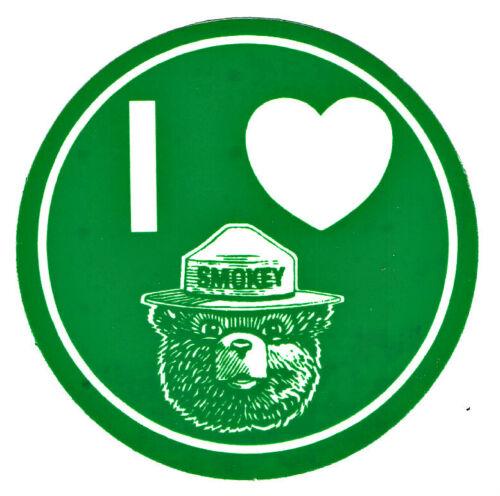"⫸ Official ""I LOVE SMOKEY"" Bear GLOW IN THE DARK 3"" Sticker – NEW (peel & apply)"