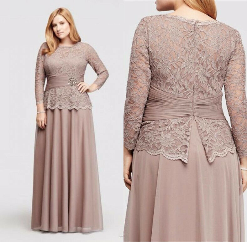 Details about Plus Size Mother of the Bride Dresses Gowns Lace 3/4 Sleeves  Applique Custom