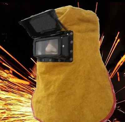 New Leather Welding Helmet Mask W Solar Auto Darkening Filter Lens Welder Hood