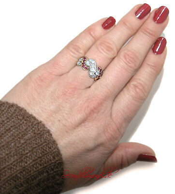Cocktail Brillantring 1,65 ct Brillanten Rubine 750 Gold 18 kt Luxus Pur! Ring