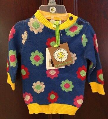 NWT 3-6M Margherita Designer Sweater Long Sleeve Multi Color Flowers Adorable!