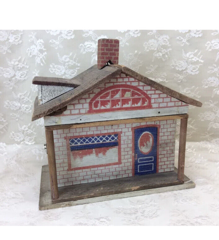 Vintage Wooden Litho Doll House Bungalow Style Converse
