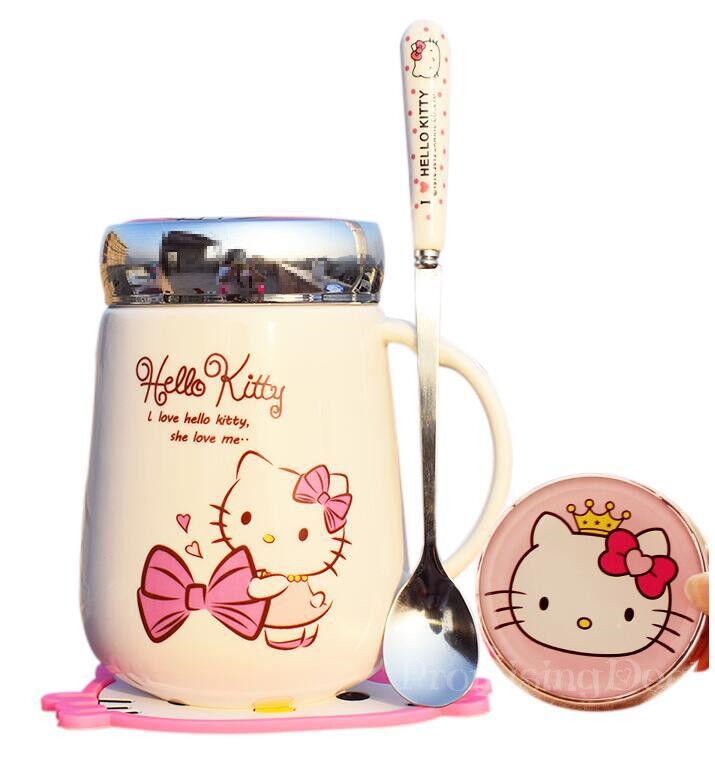 Hello Kitty Cute Ceramic Cup Tea Milk Coffee Mug 500ML c/w Spoon+Coasters