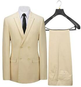 Men's suits, cream-colored double-breasted suit lapel custom size(coat and pants