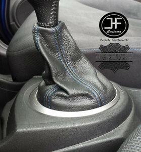 BLUE-STITCH-FOR-HONDA-JAZZ-2009-2014-BLACK-REAL-LEATHER-GEAR-GAITER-COVER