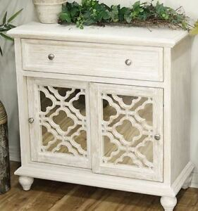 Wood entertainment cabinet by Heather Ann - distressed white