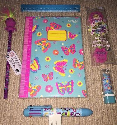 Smiggle Bundle Notebook Scented Lipstick Eraser Pen Ruler Stackable Pencil New