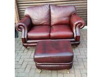 Chesterfield style, Thomas Lloyd, oxblood, leather 2 seater sofa and matching footstool. BARGAIN!