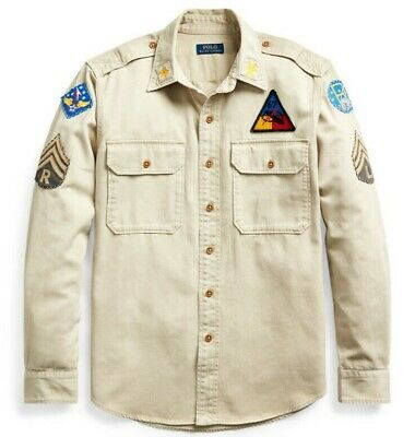 Polo Ralph Lauren Military Army One-Star Officer Chevron Patchwork Camp Shirts Patchwork Camp Shirt