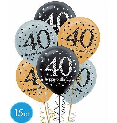 40th Sparkling Celebration Fortieth Birthday Latex Balloons Party Supply Decor - 40th Birthday Decor