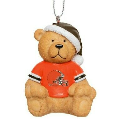 Cleveland Browns Christmas Tree Holiday Ornament New - Jersey Teddy Bear Santa