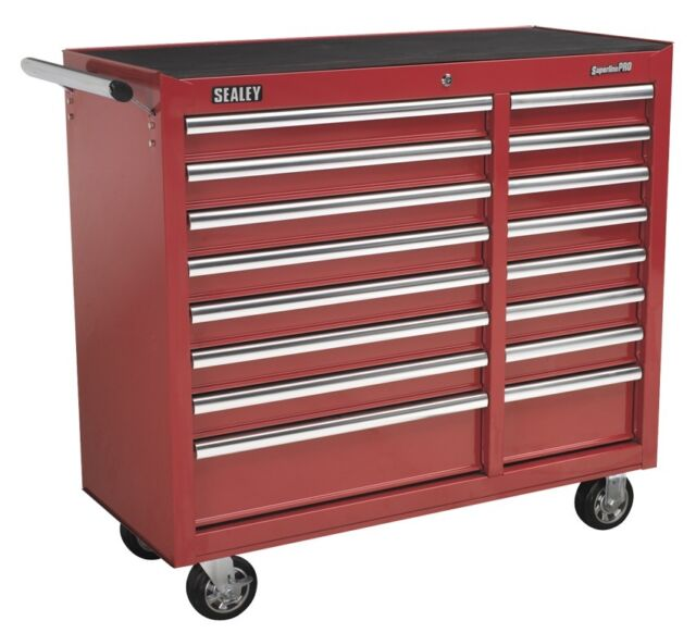 Sealey Rollcab 16 Drawer with Ball Bearing Runners Heavy-Duty - Red AP41169