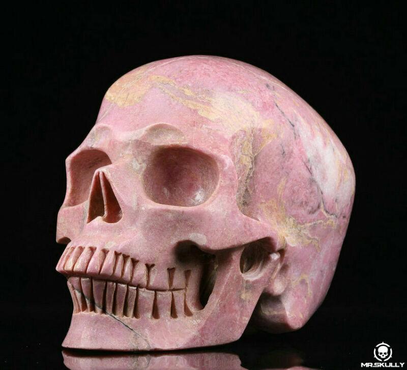 """Huge 5.0"""" Pink Rhodonite Carved Crystal Skull, Realistic, Crystal Healing"""