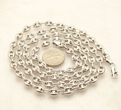 6mm Puffed Gucci Mariner Link Chain Necklace Anti-Tarnish Real Sterling (Silver Gucci)