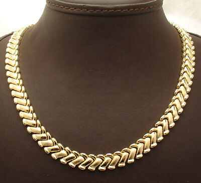 "16.50"" Basket Weave Design Chain Necklace Set 14K Yellow Gold Clad Silver"
